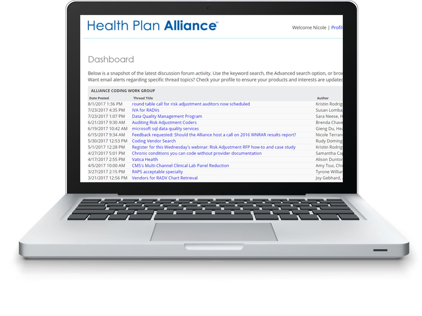 Alliance discussion forum on laptop